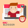 Video blogger flat style concept