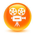 Video camera icon glassy orange round button