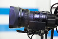 Video camera lens recording show in tv studio focus on aperture Royalty Free Stock Photography