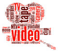Video camera word cloud in red and maroon Royalty Free Stock Photos