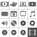Video and cinema icon set simplus series each is a single object Stock Images