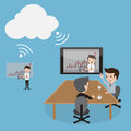 Video conferencing cloud computing business people by technology Royalty Free Stock Image
