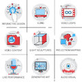 Video Content Visual Multimedia Modern Art Interactive Design Icon Set