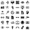 Video file icons set, simple style
