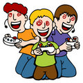 Video Game Addicted Kids Royalty Free Stock Images