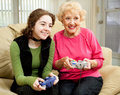 Video Game Fun with Grandma Stock Photography