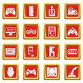 Video game icons set red