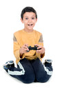 Video games boy playing isolated in white Stock Image