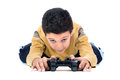 Video games boy playing isolated in white Royalty Free Stock Photography