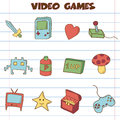 Video games icon doodle hand drawing style Royalty Free Stock Photo