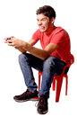 Video games teenage boy playing isolated in white Stock Photo