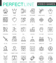 Video games thin line web icons set. Mobile game app interface Outline stroke icons design.