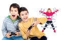 Video games time boys playing and young sister glued to the wall with duct tape in the background Stock Images