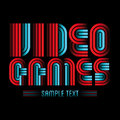 Video games vector lettering eighties style eps available Stock Photo