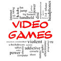 Video Games Word Cloud Concept in Red Caps Stock Photography
