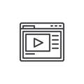 Video hosting website line icon
