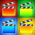 Video icon clapperboard set of icons on a colorful leather background hi res digitally generated image Royalty Free Stock Photography