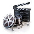 Video icon film reels and clapper board Royalty Free Stock Image