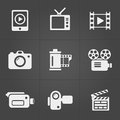 Video Icons Over Black Backgro...