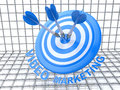 Video marketing arrows hitting the center of target success business concept blue d render in design information related to Stock Photo