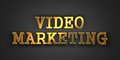 Video marketing business concept gold text on dark background d render Royalty Free Stock Photo