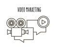 Video marketing flat line icons