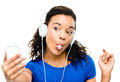 Video messaging woman african american using mobile phone Stock Photography