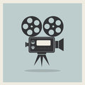 Video movie camera on retro background vector Stock Images