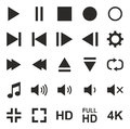 Video Or Music Or Camera Button Icons Royalty Free Stock Photo