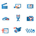 Video and photo tricolor flat icons solid fill in eps format Royalty Free Stock Photography