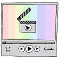 Video player illustration of hand drawn with rainbow background Royalty Free Stock Photography