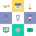 Video production pictogram icons set flat line of and media post award winning film making movie director tools and objects Royalty Free Stock Images