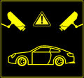 Video surveillance for cars security cameras monitor parking lots or underground parking Royalty Free Stock Images