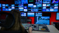Video Switcher and Screens in Tv Control Room Royalty Free Stock Photo