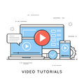Video tutorials, online training and learning, webinar, distance Royalty Free Stock Photo