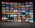 Media and TV as technology concept as video wall Royalty Free Stock Photo