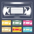 Videocassette. Retro VHS videotape from 90s. Old record video recorder tape. Vintage style movie storage icon Royalty Free Stock Photo