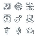 Videogame Line Icons. Linear Set. Quality Vector Line Set Such As Joystick, Mouse, Banner, Mobile Game, Potion, Mystery,