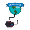 Videogames world online connection mouse system Royalty Free Stock Photo