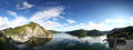 Vidraru dam and lake high panoramic view of in a clear day calm weather Stock Photo
