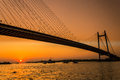 Vidyasagar setu calcutta hanging bridge nd hoogly bridge in Stock Images