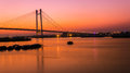 Vidyasagar setu at twilight beautiful over river ganges in kolkata Stock Photography