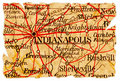Vieille carte d'Indianapolis Images libres de droits