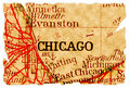 Vieille carte de Chicago Photographie stock libre de droits