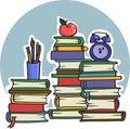 Viele handbücher bucht für schulbildung und college vector illustration Lizenzfreie Stockbilder