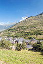 Vielha village located in the spanish province of lleida you can see pyrennes mountains in the background it s a vertical picture Royalty Free Stock Image