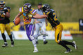 Vienna austria june wr kyle kaiser vikings is tackled by db mario schmitt adler on june in vienna austria Royalty Free Stock Photography