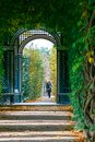 Schonbrunn Palace in Vienna, romantic garden walkway forming a green tunnel of acacias in Vienn Royalty Free Stock Photo