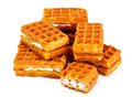 Vienna, Belgian Waffles Isolated on White Background Studio Phot Royalty Free Stock Photo