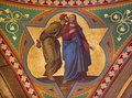 Vienna fresco of judas betray jesus with the kiss scene in side nave of altlerchenfelder church from cent on july Stock Photos